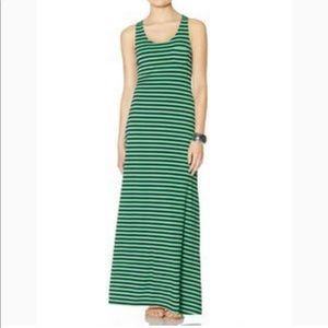 THE LIMITED NAVY/GRN STRIPED MAXI DRESS